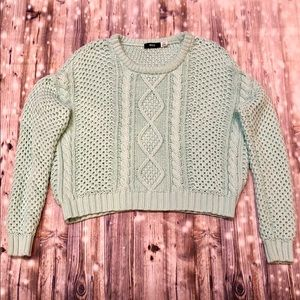 BDG mint green aqua blue chunky knit sweater